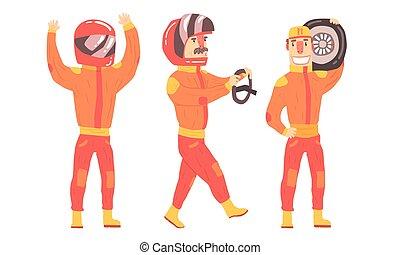 Men in orange rider suits. Vector illustration