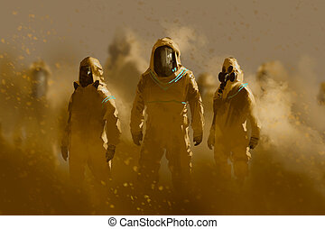 men in protective suit, outbreak concept, illustration painting