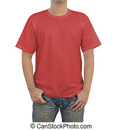 Men in red T-shirt