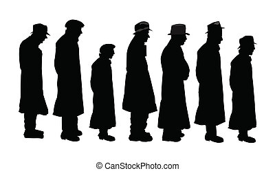 men in silhouette - group of men in line waiting at soup...