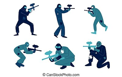 Men in special blue protective costumes and helmets playing paintball