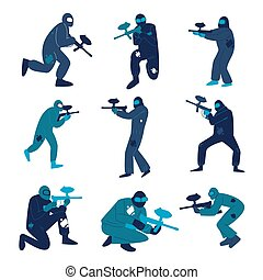 Men in special protective costumes playing paintball vector illustration