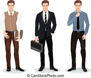 Men in stylish clothes. Set of businessmen. Detailed male characters. Vector illustration