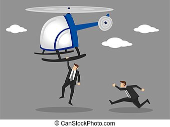 Men in Suit Chasing After Helicopter Vector Illustration