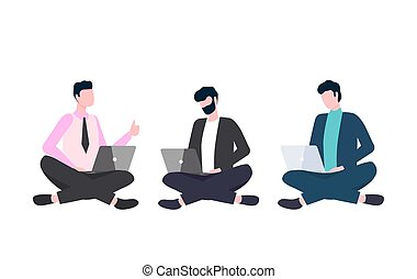 Men in Suit Sits Cross-Legged with Laptop Vector - Men in ...