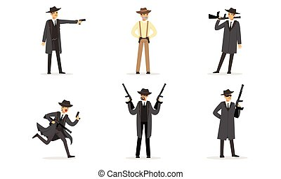 Men in suits of gangsters. Vector illustration.