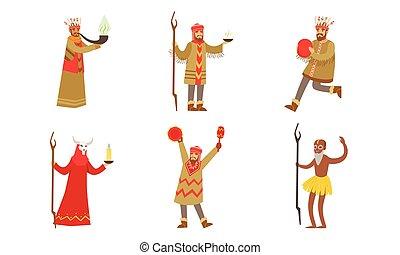 Men in suits of shamans. Vector illustration.
