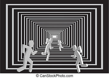 Men in the tunnel. People competition. - Running competition...