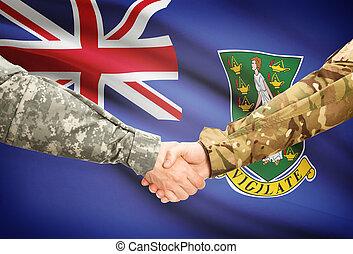Men in uniform shaking hands with flag on background - British Virgin Islands