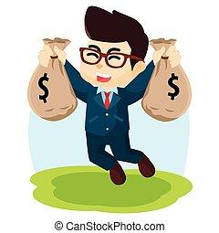 men jumping holding money bag