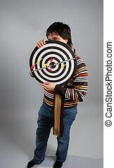 Men keeping target. Studio shot.