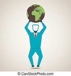men lift the globe world