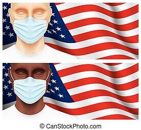Men looking at camera on a USA flag background.