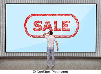 men looking at sale