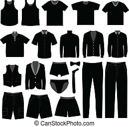 A big set of male clothing and apparel.