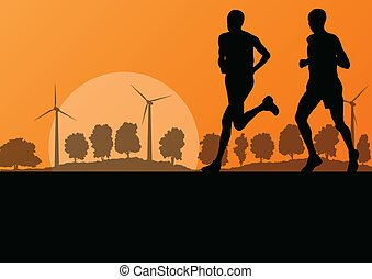 Men marathon runners in wild countryside forest nature...