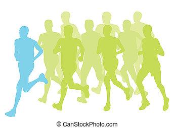 Men marathon winner finish vector background and group of runners for poster