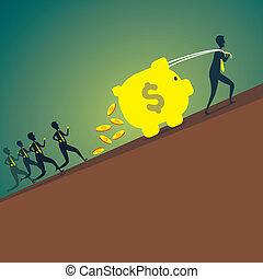 men move the piggy to bank