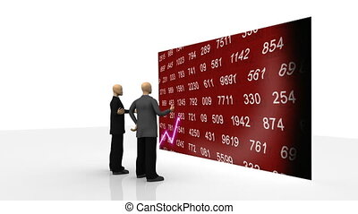 Animation showing 3d men observing share market on a screen against white background