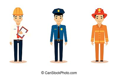 Men of different professions set, engineer, policeman, fireman, working people vector Illustration on a white background