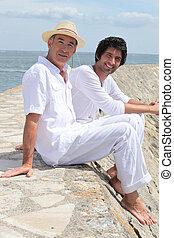 men on a pier