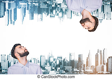 Men on abstract city background