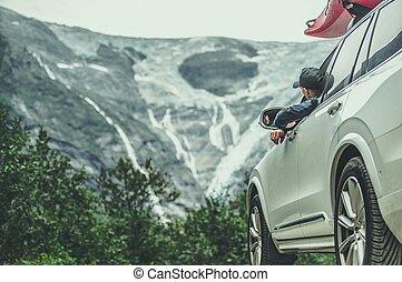 Men on Scenic Road Trip