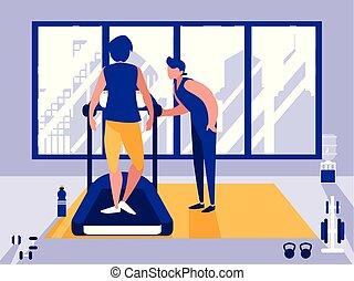 men on treadmill in gym icon