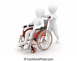 Men on wheelchair. 3d