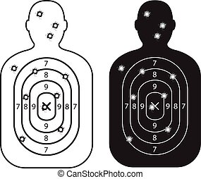 men paper targets with bullet holes
