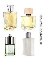 Men perfume collection of various bottles, isolated on white background, clipping paths included