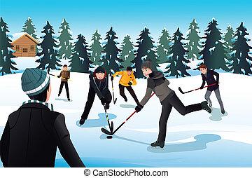 Men playing ice hockey - A vector illustration of men...