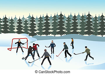 Men playing ice hockey outdoor - A vector illustration of...