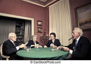 Men playing poker