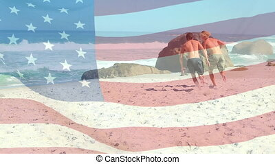Men playing rugby American flag waving