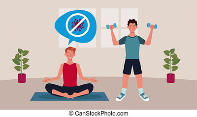 men practicing yoga and exercise in home for covid19 prevention method ,4k video animation