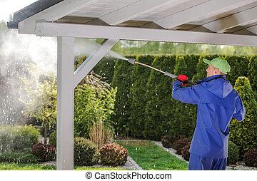 Men Pressure Washing Garden Porch Wooden Roof
