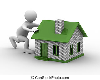 men push house on white background. Isolated 3D image