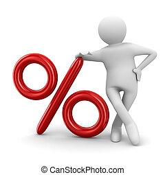 men push percent on white background. Isolated 3D image
