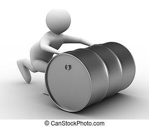 men push vat on white background. Isolated 3D image