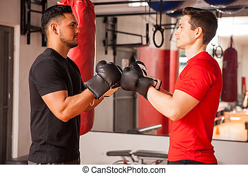 Men ready to do some boxing at the gym