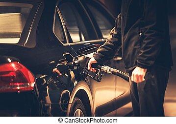 Men Refueling His Diesel Car