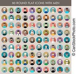 men., rond, ensemble, icônes, plat