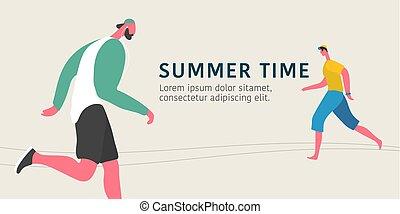 Men running outside in summer vector illustration