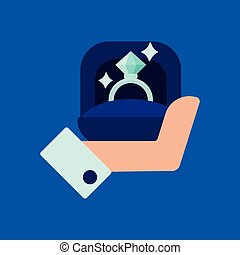 Men s hand holds a jewelry box with a wedding ring with a big shining diamond. Vector icon