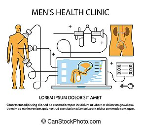 Medical aid concept - Men s health clinic banner. Medical ...