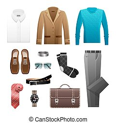 Men s Outfits Set for Everyday Life on White