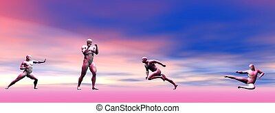 men self defence and landscape
