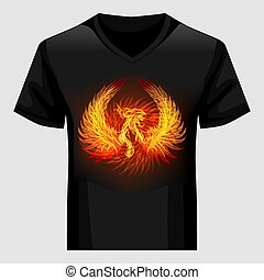 Shirt template with Phoenix in flame