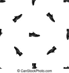 Men shoe pattern seamless black